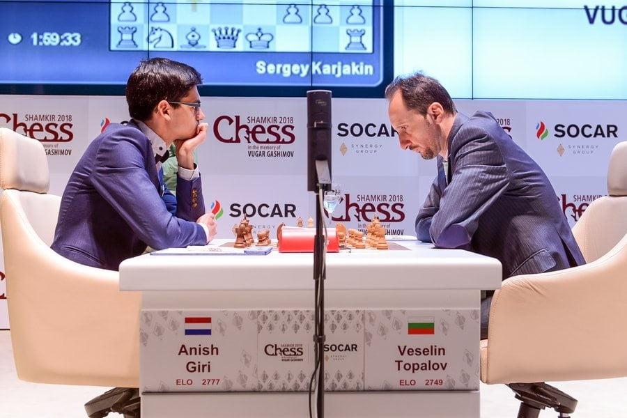 Shamkir Chess 2018 ronde 2 Topalov-Giri