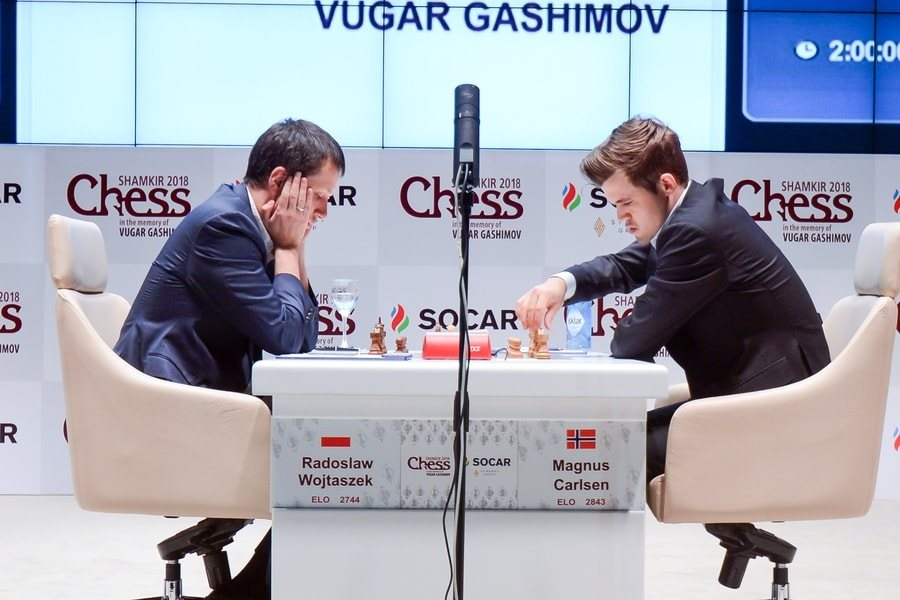Shamkir Chess 2018 ronde 5 Carlsen-Wojtaszek