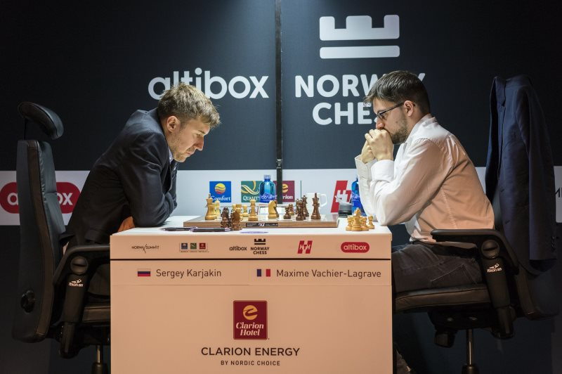 Norway Chess 2018 ronde 4 Karjakin et Vachier-Lagrave