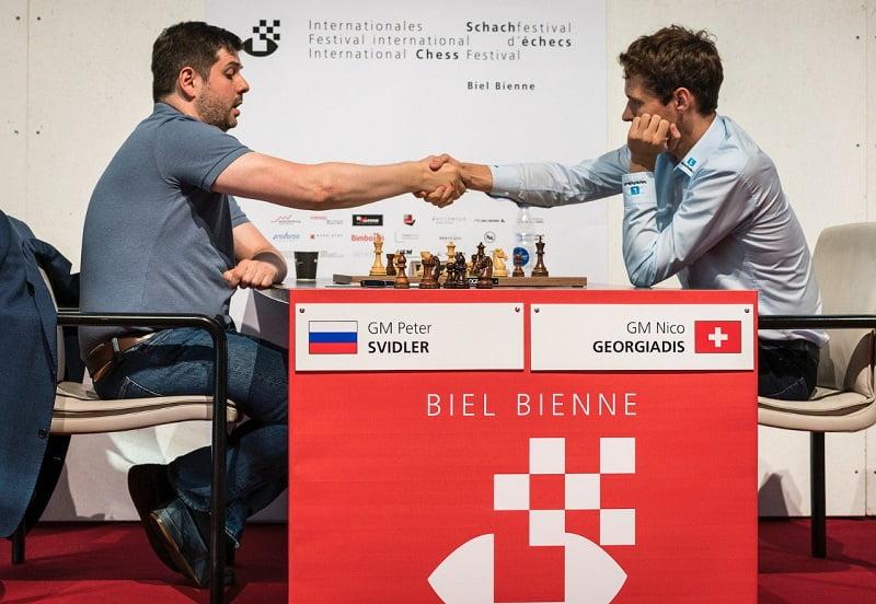Tournoi Grands-Maîtres au Festival des échecs de Bienne 2018 ronde 2 Svidler-Georgiadis