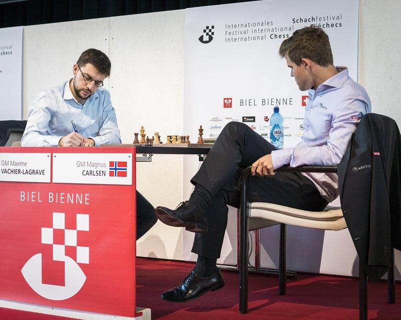 Tournoi Grands-Maîtres au Festival des échecs de Bienne 2018 ronde 2 Vachier-Lagrave Carlsen