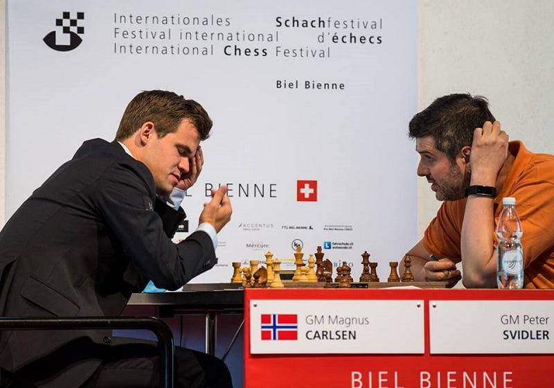Tournoi des Grands-Maîtres au Festival des échecs à Bienne 2018 ronde 3 Carlsen-Svidler