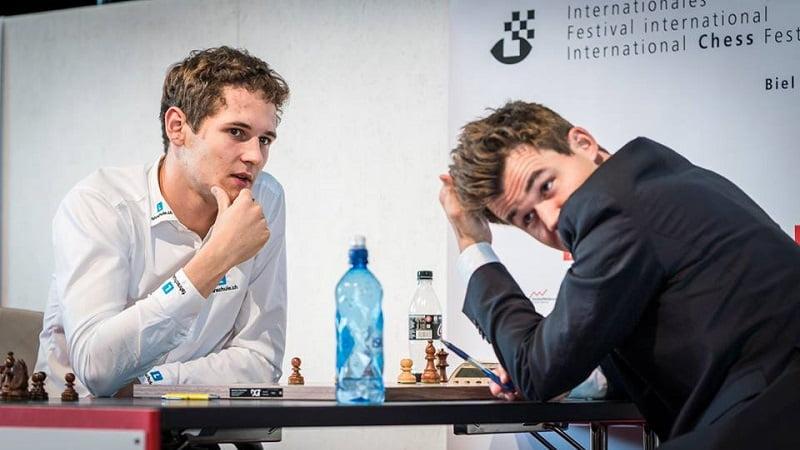 Tournoi des Grands-Maîtres au Festival des échecs à Bienne 2018 ronde 4 Georgiadis-Carlsen