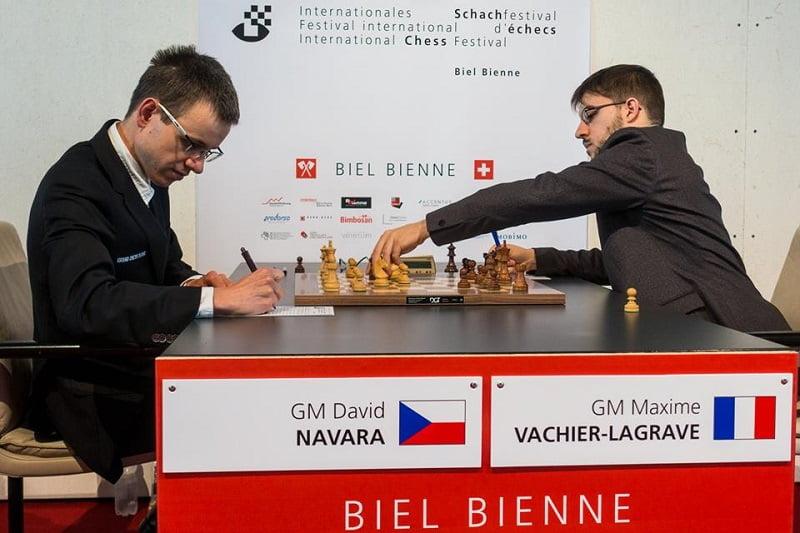 Tournoi des Grands-Maîtres au Festival des échecs à Bienne 2018 ronde 4 Navara Vachier-Lagrave