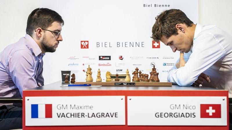Tournoi des Grands-Maîtres au Festival des échecs de Bienne 2018 ronde 5 Vachier-Lagrave Georgiadis
