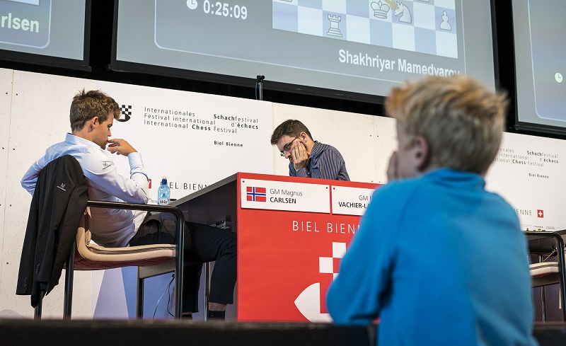 Tournoi Grands-Maîtres au Festival des échecs à Bienne 2018 ronde 7 Carlsen Vachier-Lagrave