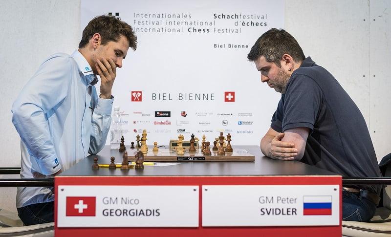 Tournoi Grands-Maîtres au Festival des échecs à Bienne 2018 ronde 7 Georgiadis-Svidler