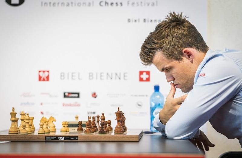 Tournoi des Grands-Maîtres au Festival des échecs de Bienne 2018 ronde 9 Magnus Carlsen