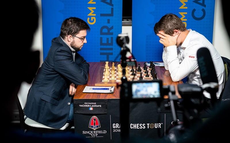 Sinquefield Cup 2018 ronde 1 Vachier-Lagrave Carlsen