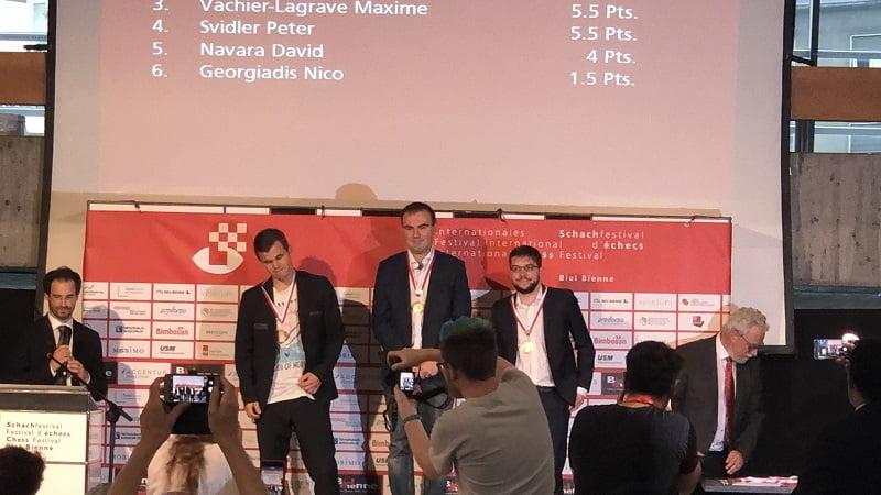 Tournoi Grands-Maîtres au Festival dese échecs à Bienne 2018 cérémonie de clôture