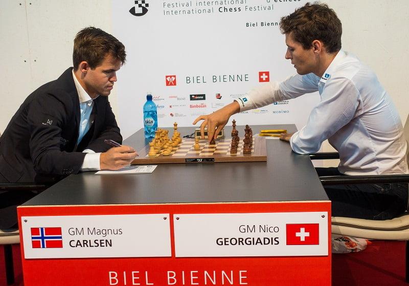 Tournoi des Grands-Maîtres au Festival des échecs à Bienne 2018 ronde 10 Carlsen-Georgidis