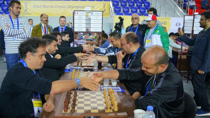 Olympiade d'échecs 2018 ronde 3 France-Algérie