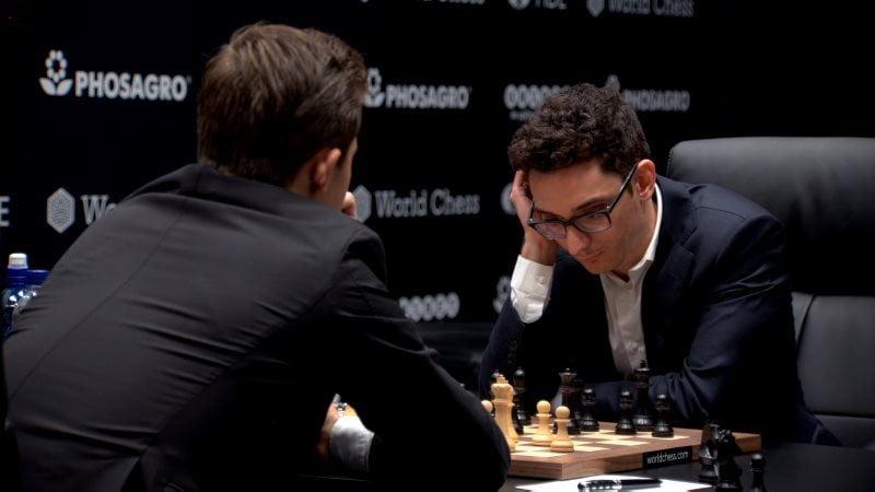 Championnat du Monde d'échecs 2018 partie 4 Fabiano Caruana coup 16