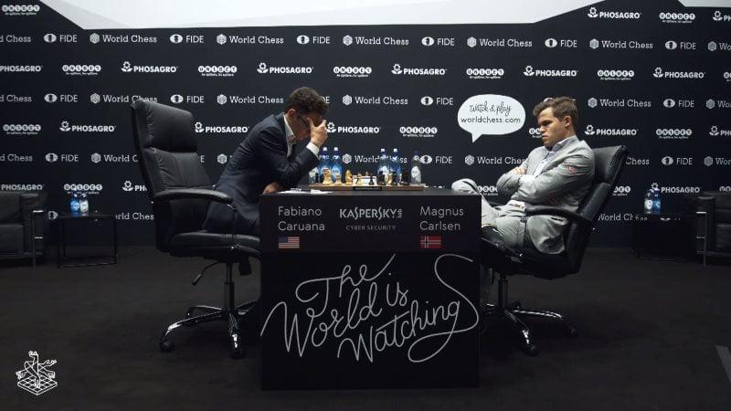 Championnat du Monde d'échecs 2018 partie 5 Caruana Carlsen