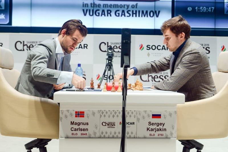 Shamkir Chess 2019 ronde 8 Karjakin-Carlsen