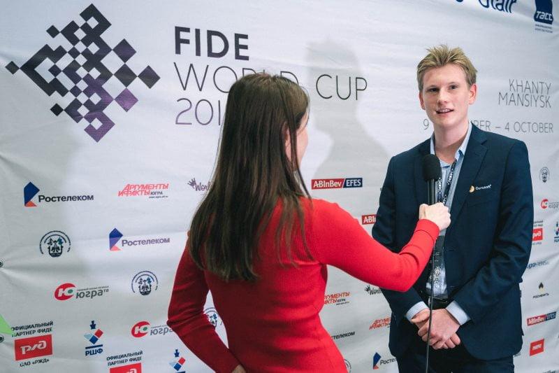 Coupe du Monde d'échecs FIDE 2019 ronde 1 Johan-Sebastian Christiansen