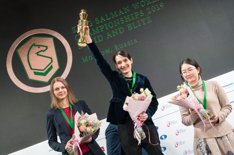 Podium du Championnat du Monde Blitz féminin 2019