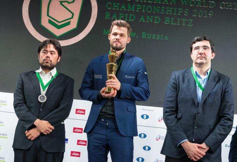 Podium du Championnat du Monde Blitz Open 2019