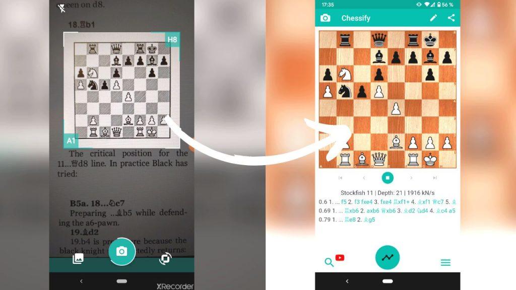 Scanner position ou diagramme d'échecs avec Chessify