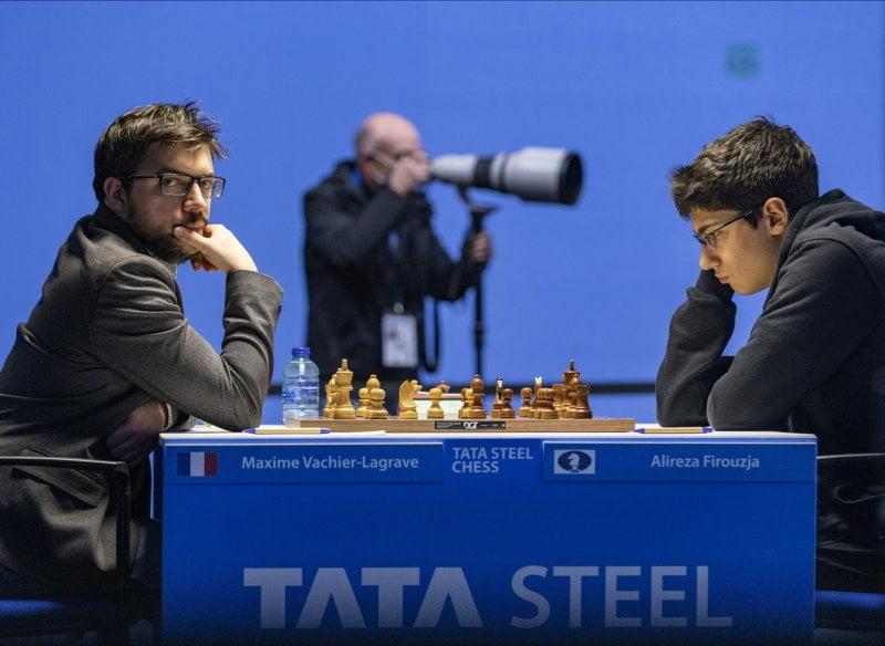 Tata Steel Chess Ronde 2 Maxime Vachier-Lagrave et Alireza Firoujza